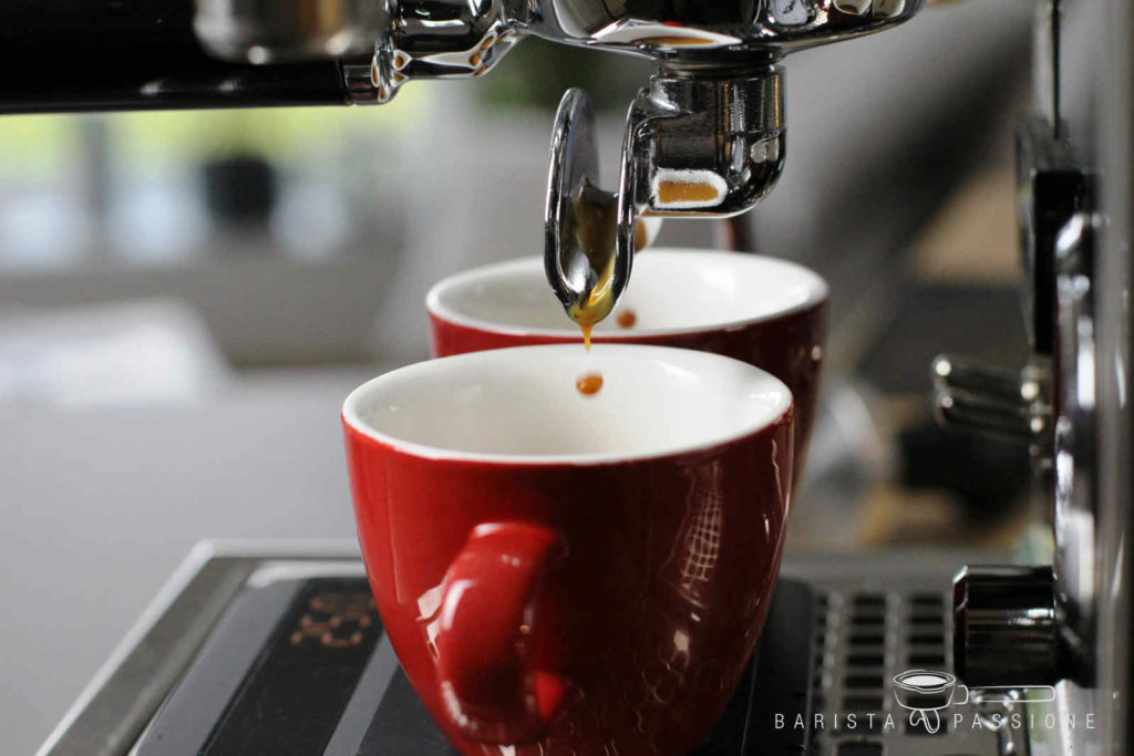 Die Espresso Extraktion: Die letzten Tropfen des Espressos tröpfeln in die Tassen.