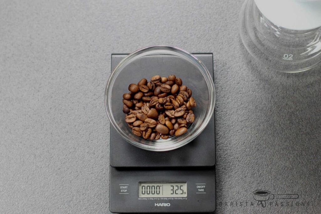 filterkaffee-welche-menge-32,5g-kaffeebohnen-für-500ml-wasser